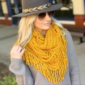 Mustard Lattice Fringe Infinity Scarf